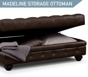 Shop the Madeline Chocolate Storage Ottoman