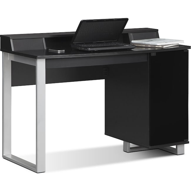 Pacer home office desk with sound black value city furniture and mattresses - Value city office desk ...