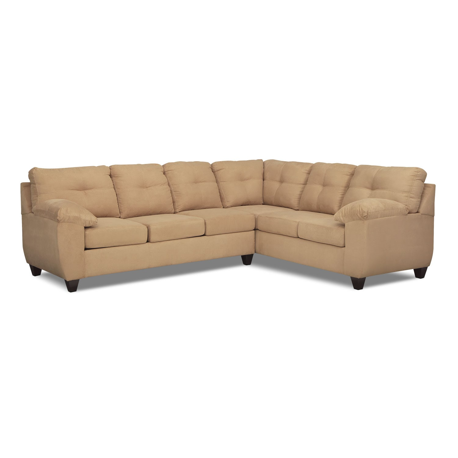 Living Room Furniture - Rialto 2-Piece Sectional with Left-Facing Memory Foam Sleeper - Camel
