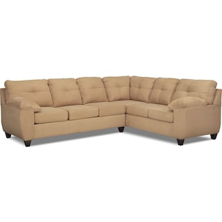 Ricardo 2-Piece Memory Foam Sleeper Sectional with Right-Facing Sofa - Camel