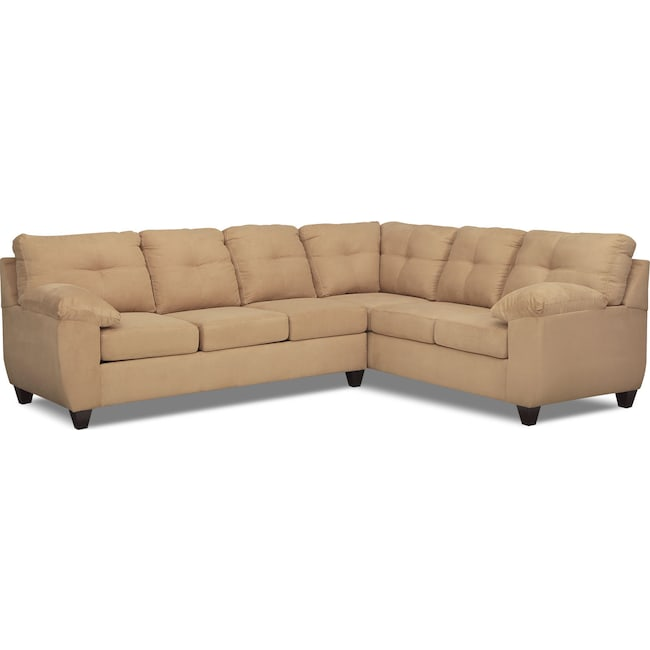 Living Room Furniture - Ricardo 2-Piece Innerspring Sleeper Sectional with Right-Facing Sofa - Camel
