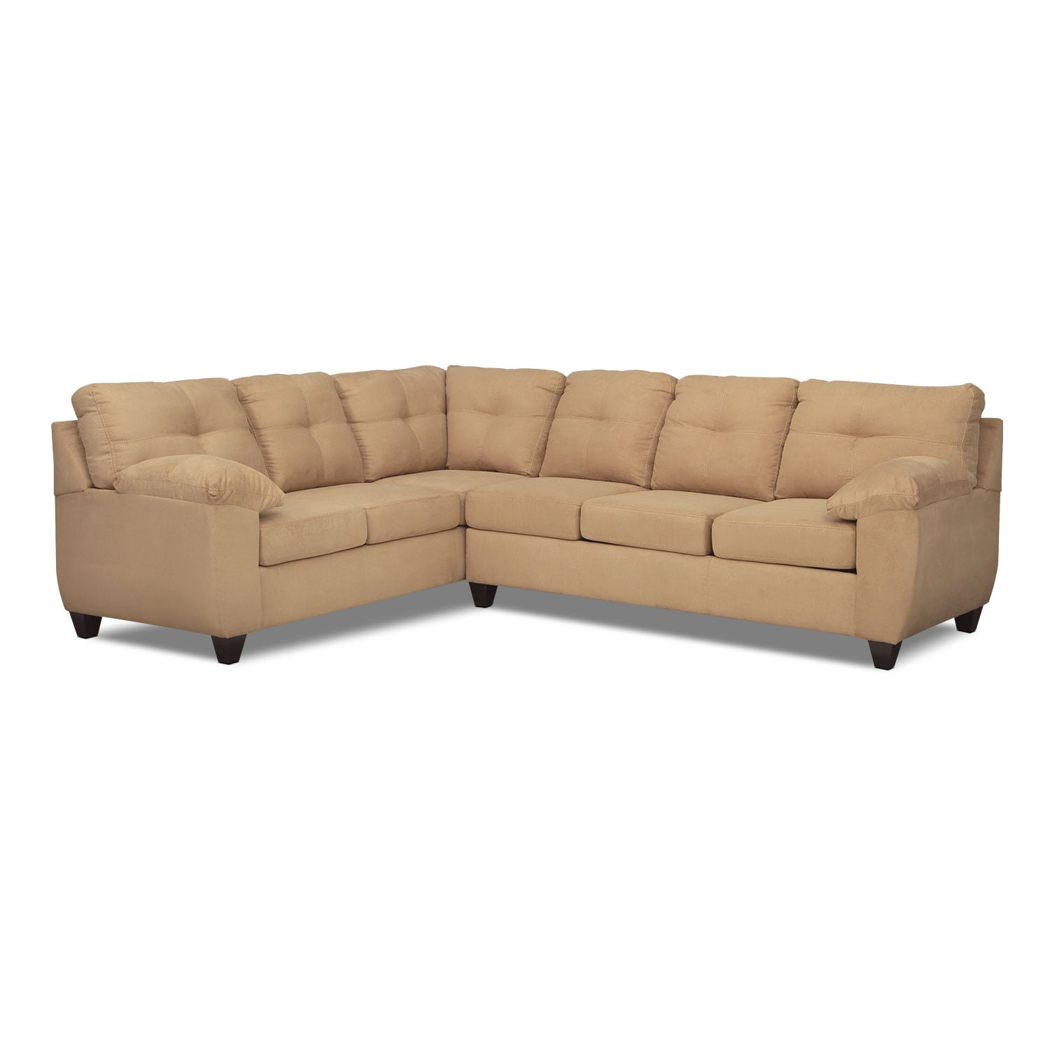 Living Room Furniture - Rialto Camel 2 Pc. Sectional with Right-Facing Memory Foam Sleeper