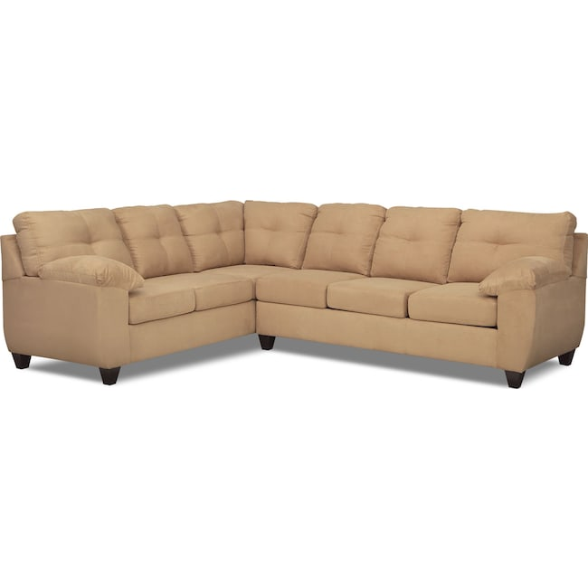 Living Room Furniture - Ricardo 2-Piece Memory Foam Sleeper Sectional with Left-Facing Sofa - Camel