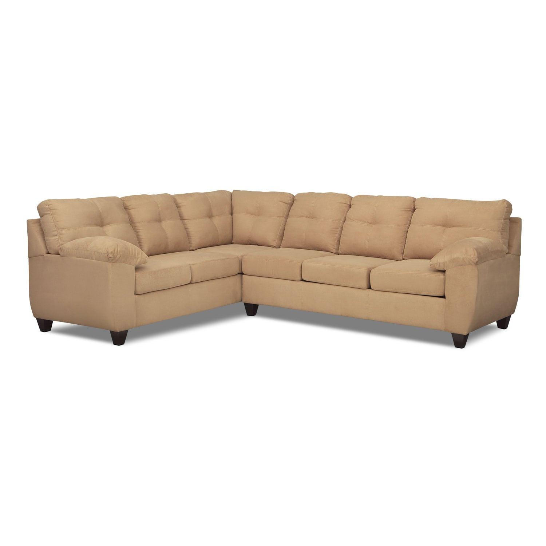 ricardo 2piece memory foam sleeper sectional with leftfacing sofa camel