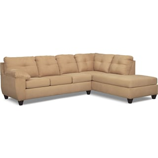 Ricardo 2-Piece Memory Foam Sleeper Sectional with Right-Facing Chaise - Camel