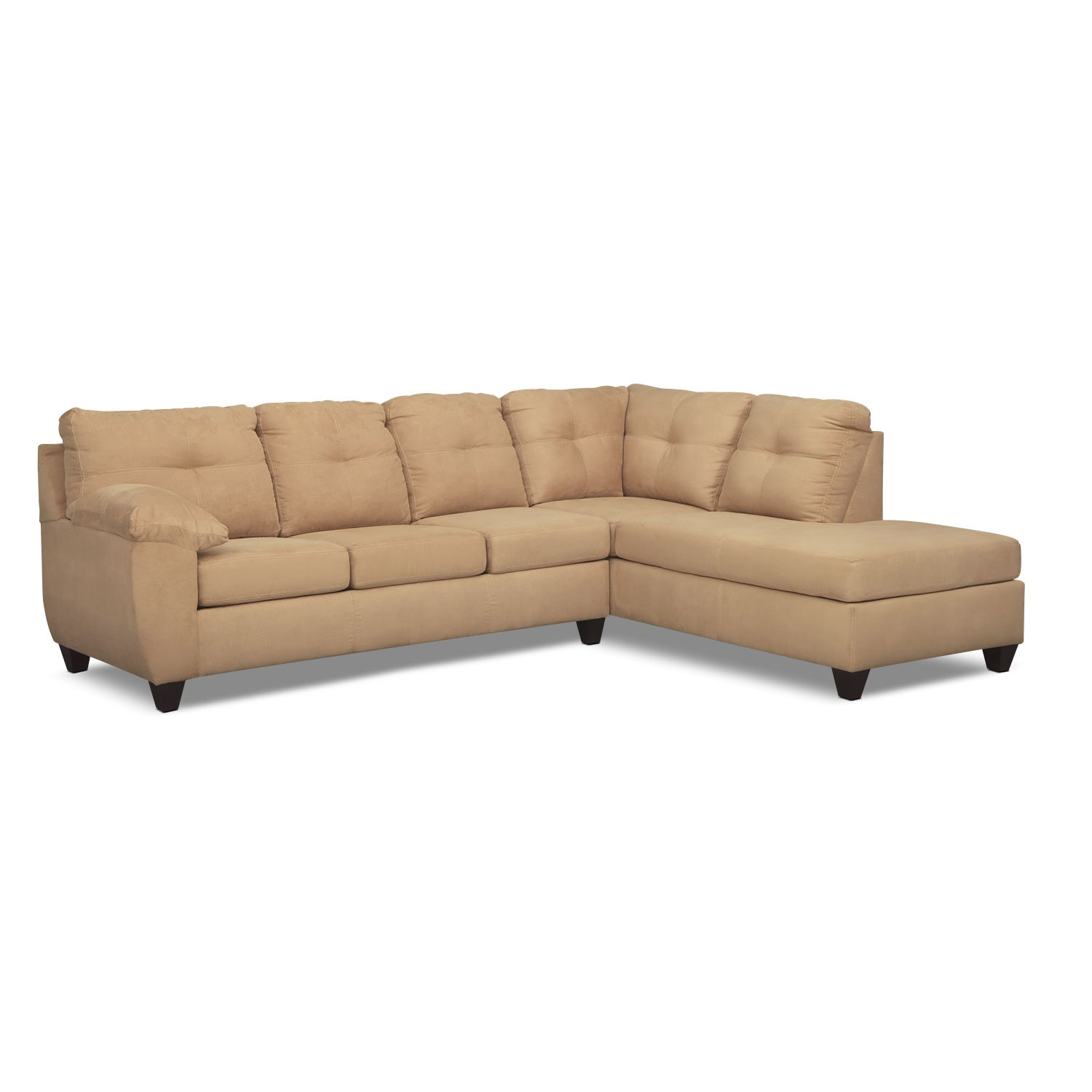 Ricardo 2-Piece Memory Foam Sleeper Sectional with Right-Facing Chaise - Camel  sc 1 st  Value City Furniture : value city leather sectionals - Sectionals, Sofas & Couches