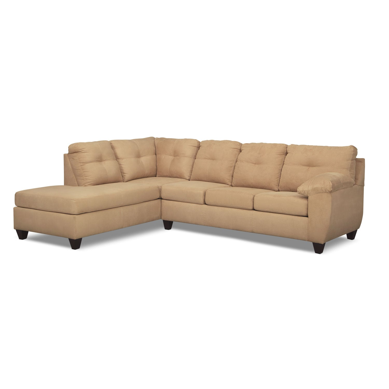 Rialto Camel 2 Pc. Memory Foam Sleeper Sectional with Left-Facing Chaise