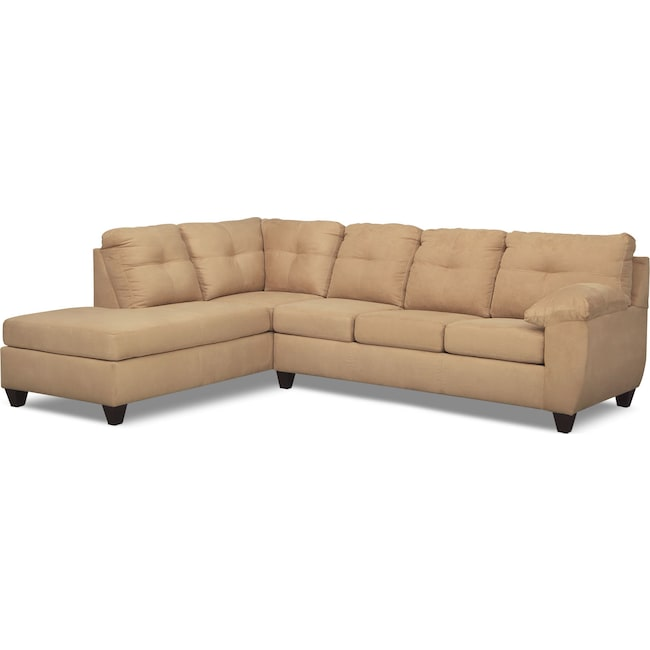 Living Room Furniture - Ricardo 2-Piece Innerspring Sleeper Sectional with Left-Facing Chaise - Camel