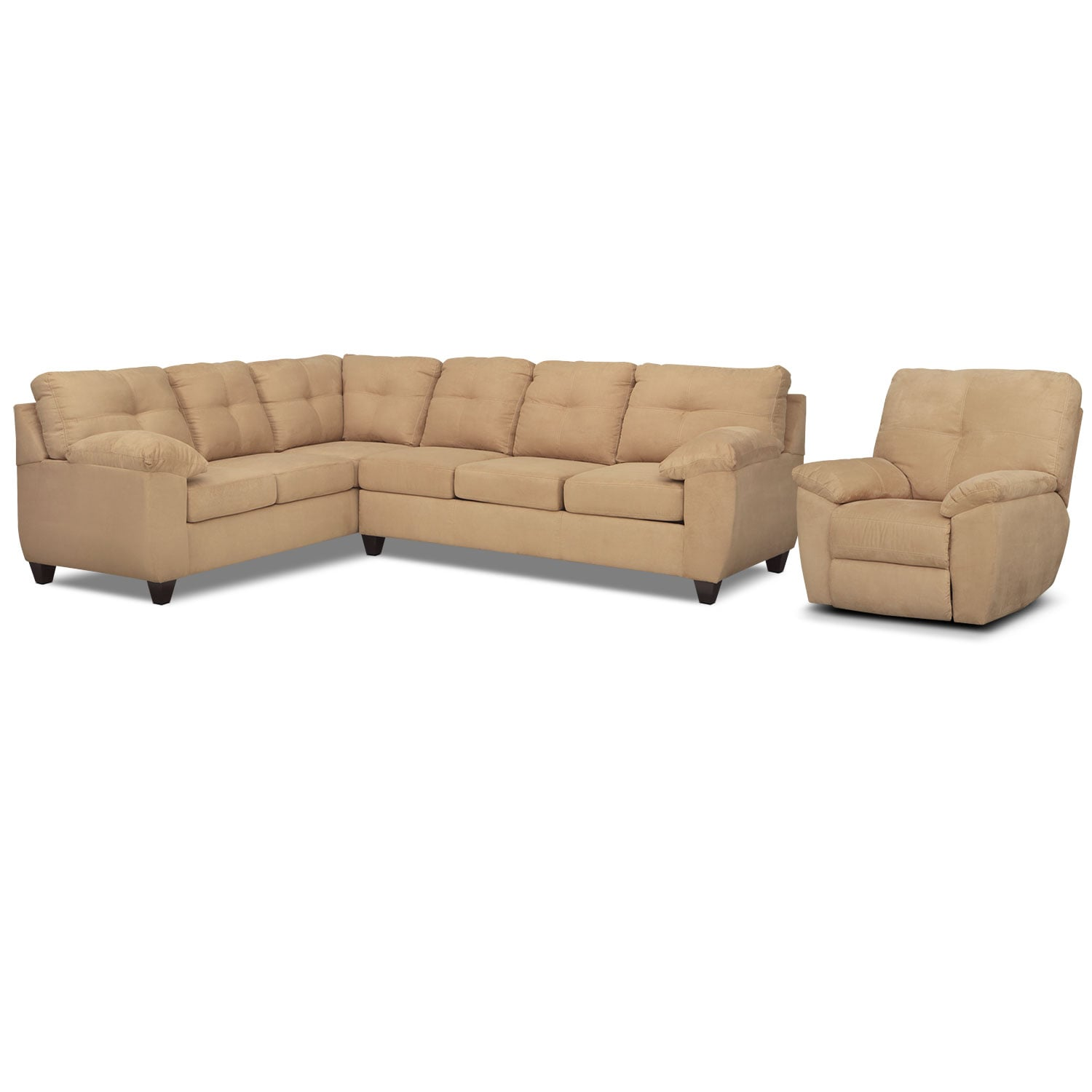 Living Room Furniture - Rialto 2-Piece Sectional with Left-Facing Corner Sofa and Glider Recliner Set - Camel