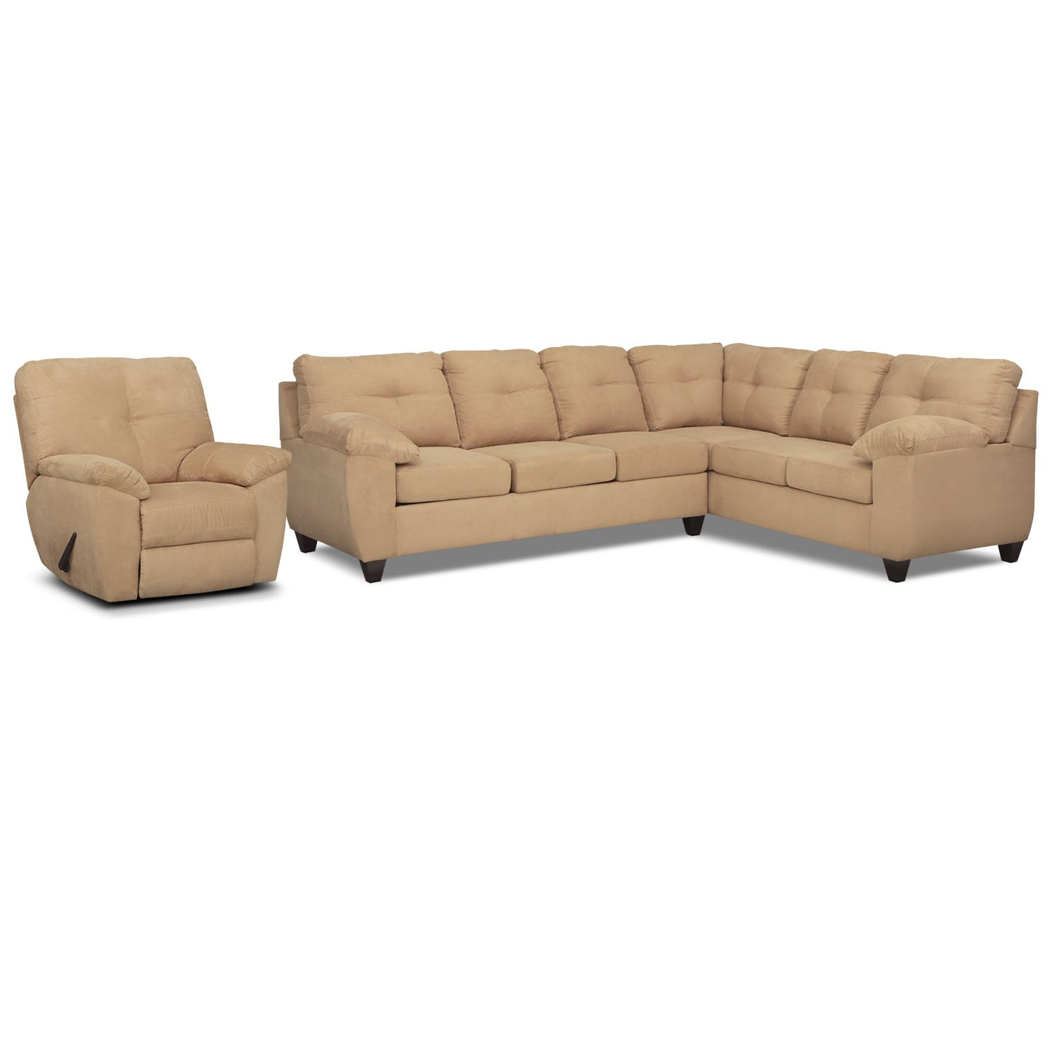 Living Room Furniture - Rialto 2-Piece Sectional with Right-Facing Corner Sofa and Glider Recliner Set - Camel