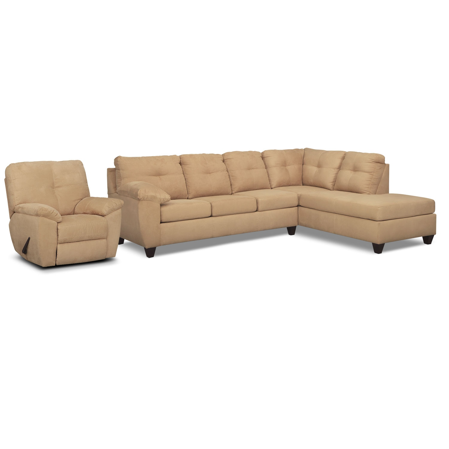 Living Room Furniture - Rialto 2-Piece Sectional with Right-Facing Chaise and Glider Recliner Set - Camel