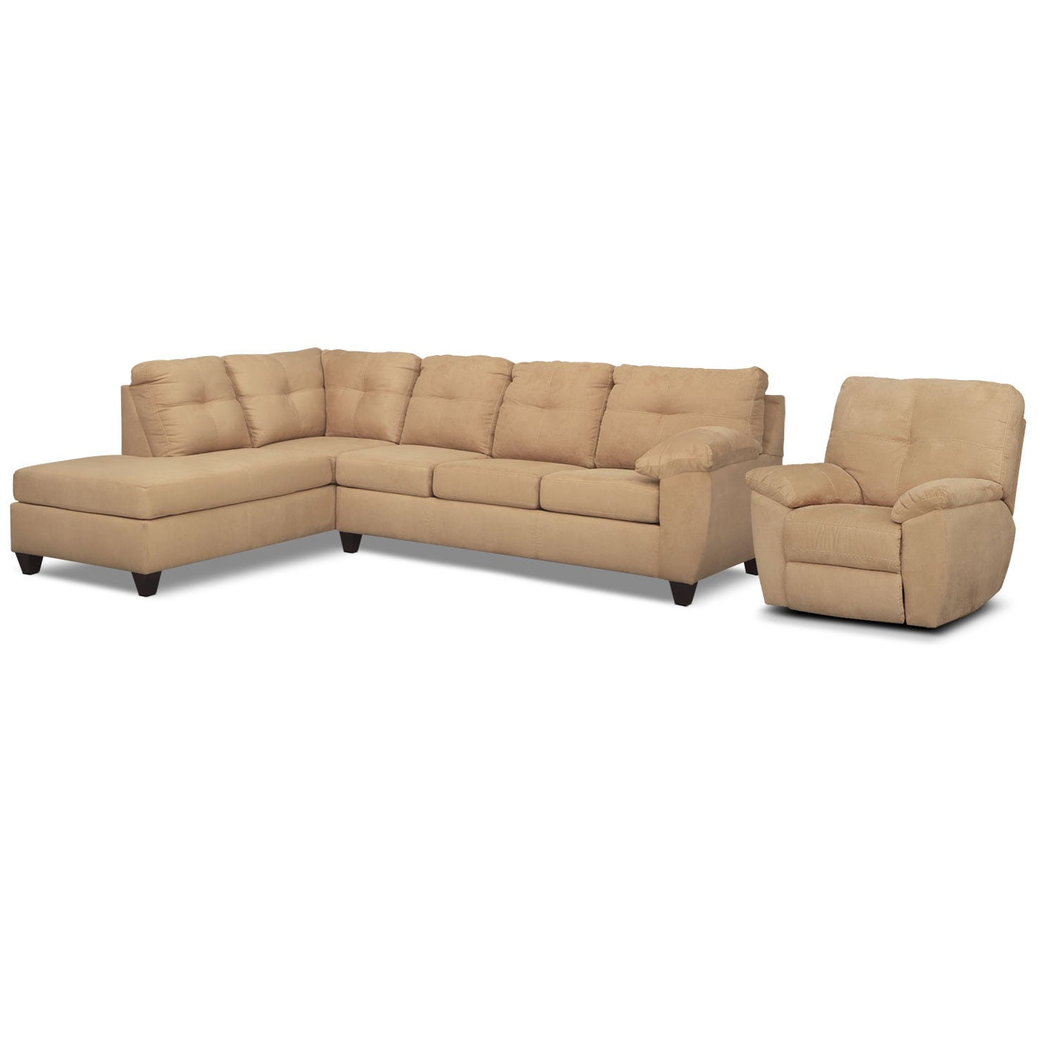 Rialto 2-Piece Sectional with  Left-Facing Chaise and Glider Recliner Set - Camel