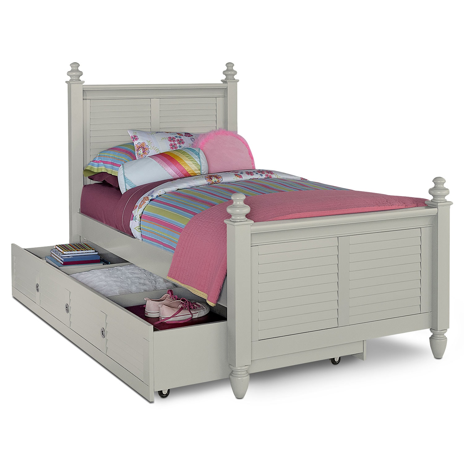 Kids Furniture - Seaside Full Bed with Trundle - Gray