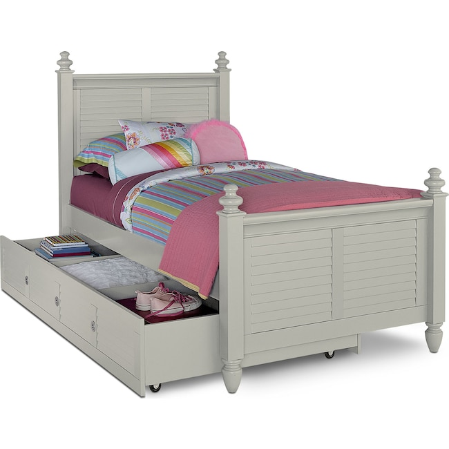 Kids Furniture - Seaside Twin Bed with Twin Trundle - Gray