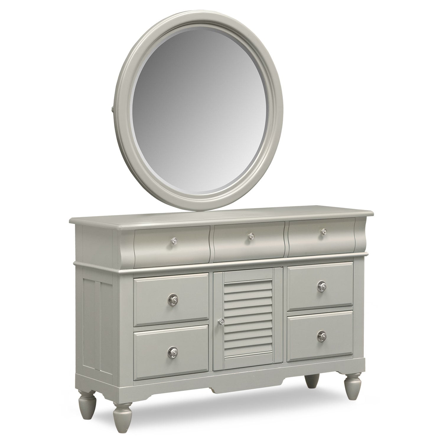 Seaside Dresser and Mirror - Gray