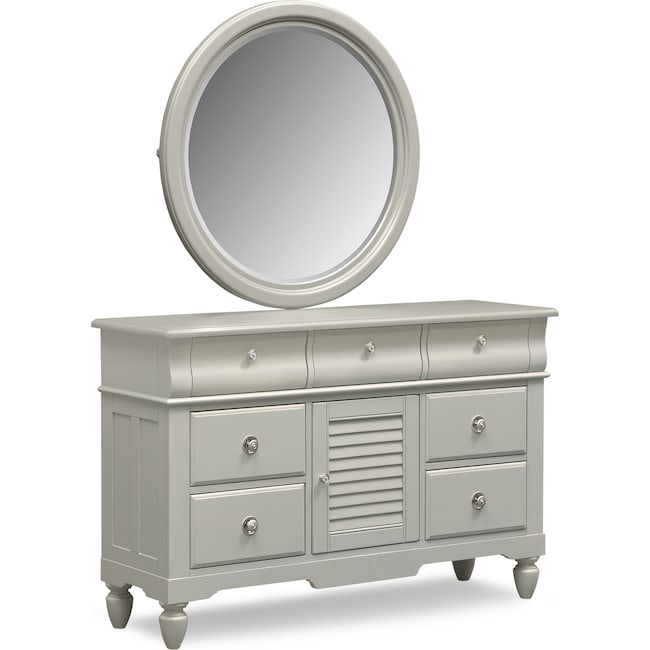 Kids Furniture - Seaside Dresser and Mirror - Gray