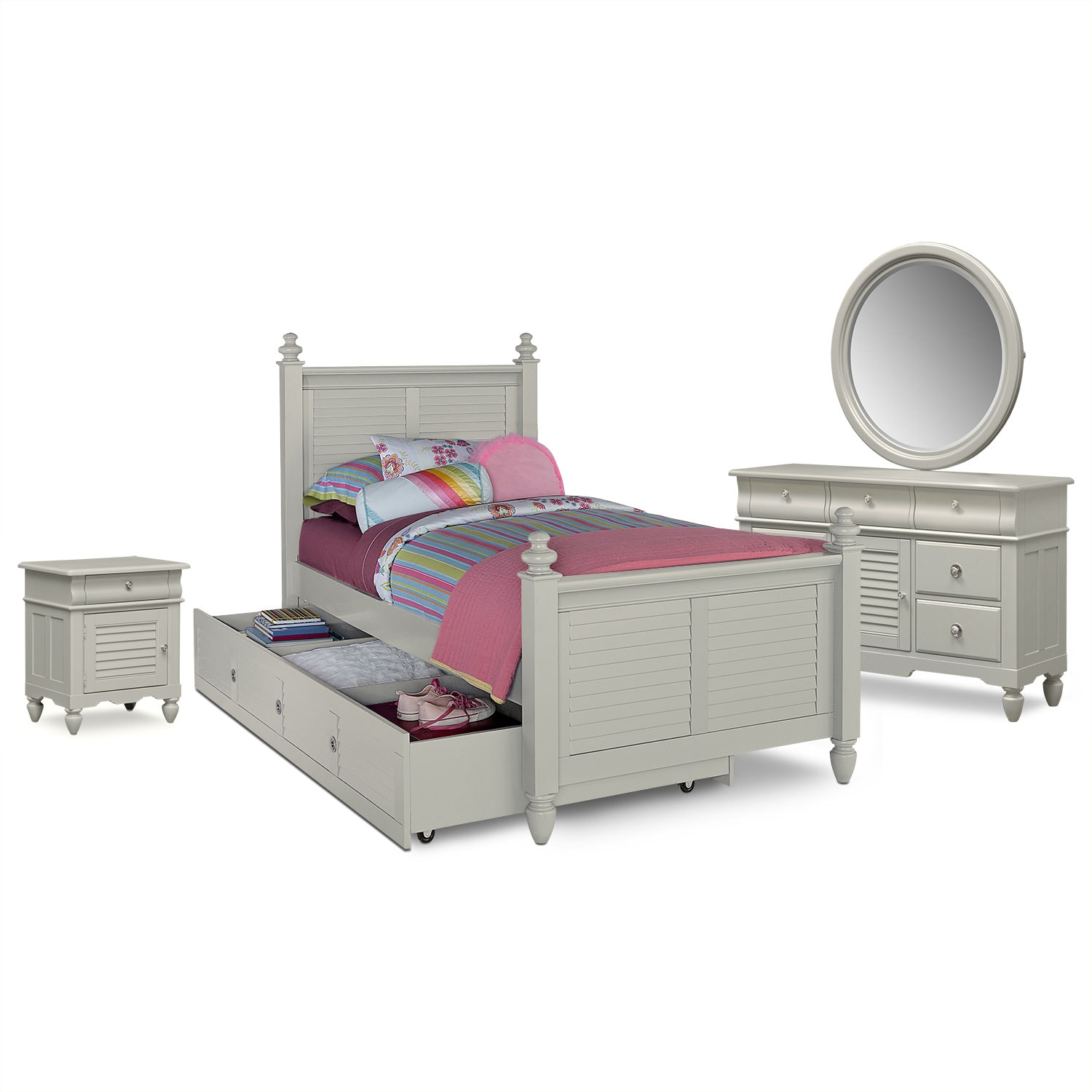 Kids Furniture - Seaside 7-Piece Full Bedroom Set with Trundle - Gray