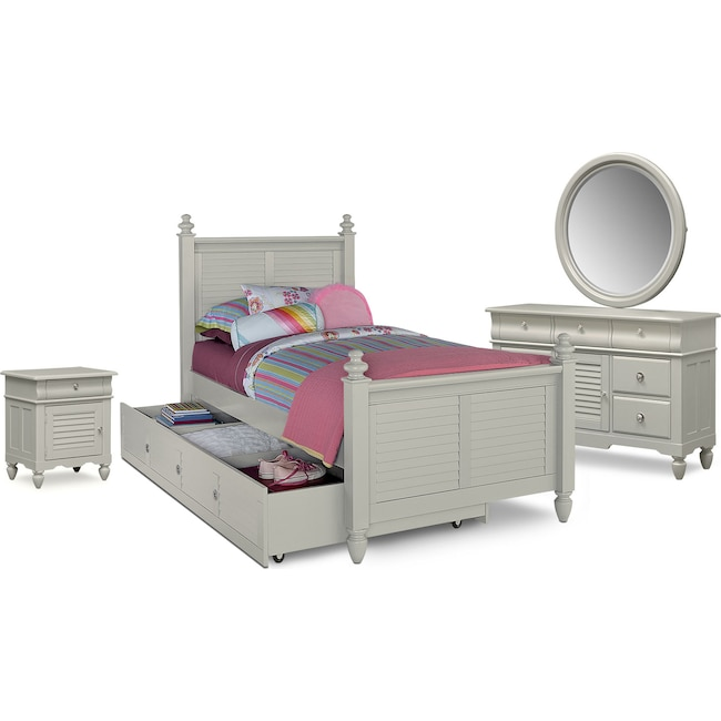 Kids Furniture - Seaside 7-Piece Twin Bedroom Set with Twin Trundle - Gray