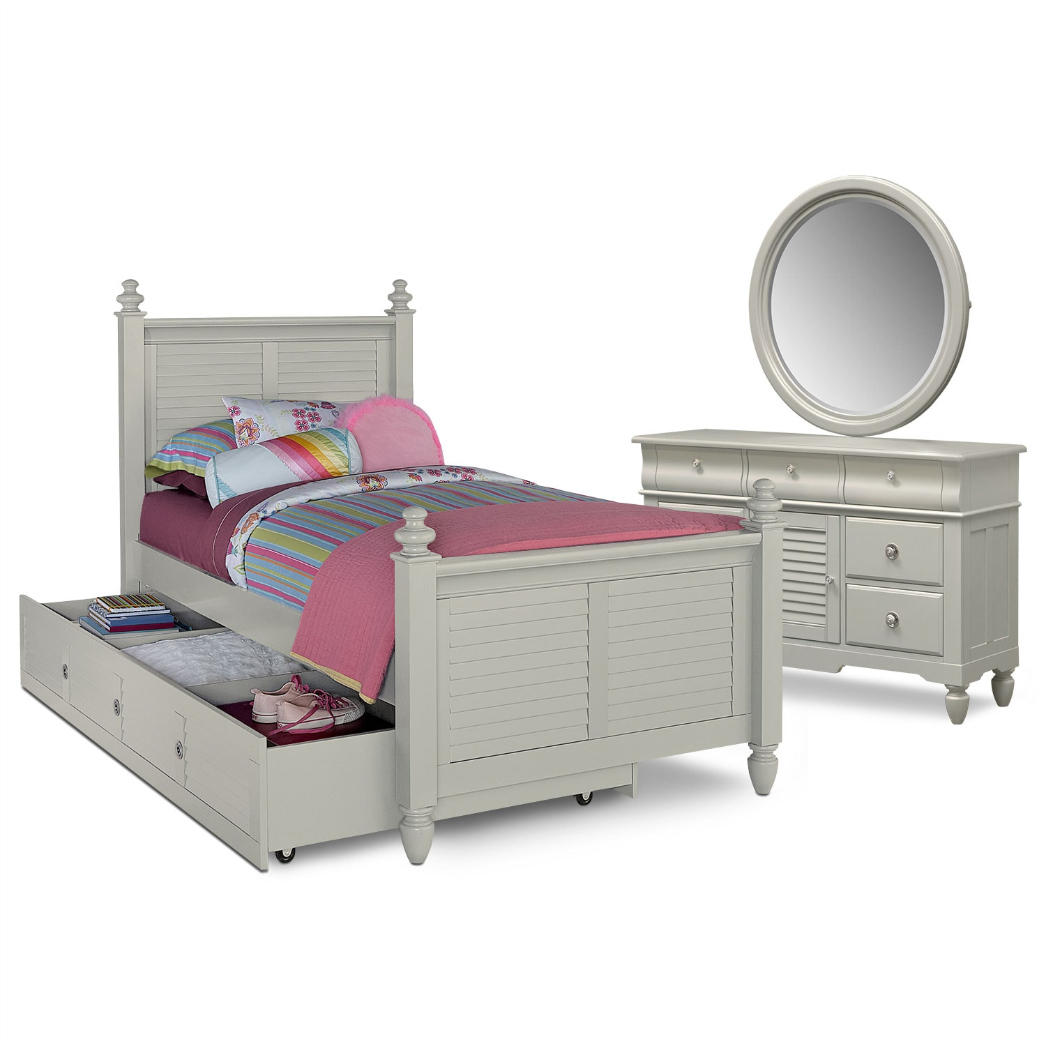 Kids Furniture - Seaside 6-Piece Twin Bedroom Set with Trundle - Gray