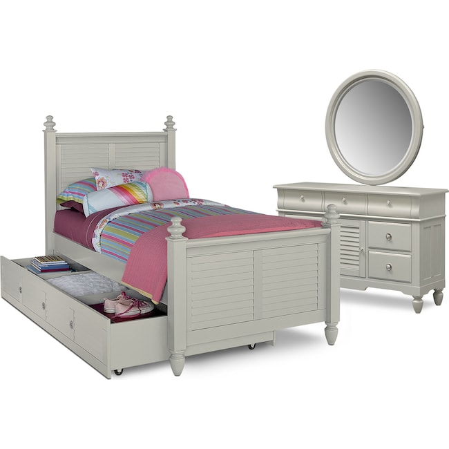 Kids Furniture - Seaside 6-Piece Twin Bedroom Set with Twin Trundle - Gray