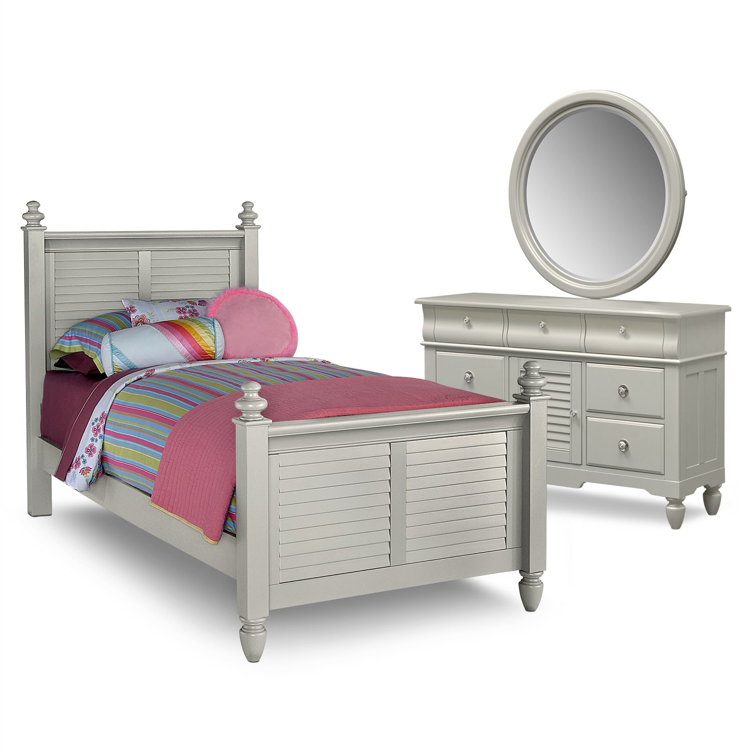 Seaside 5-Piece Twin Bedroom Set - Gray