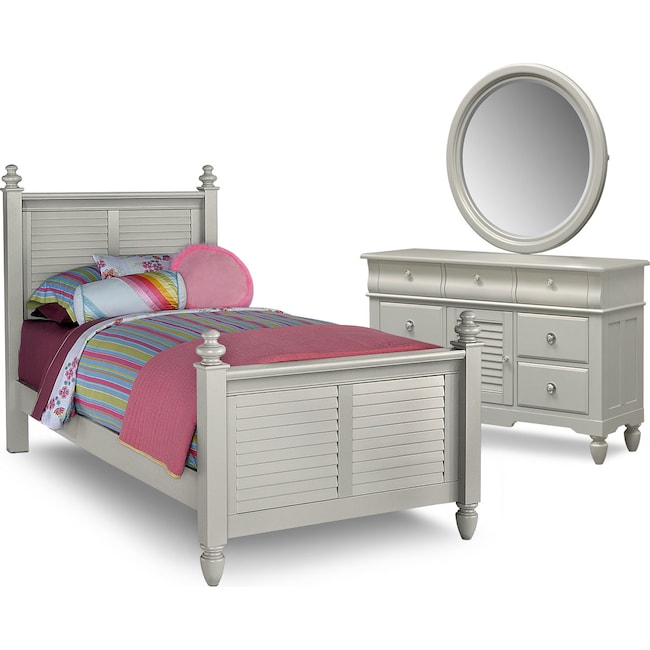 Kids Furniture - Seaside 5-Piece Twin Bedroom Set - Gray