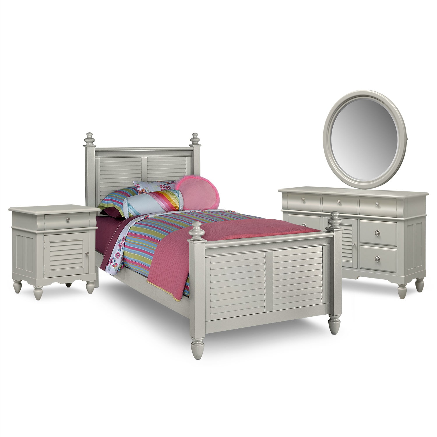 Kids Furniture - Seaside 6-Piece Full Bedroom Set - Gray
