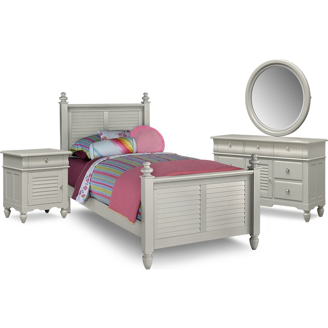 Kids Furniture - Seaside 6-Piece Twin Bedroom Set - Gray