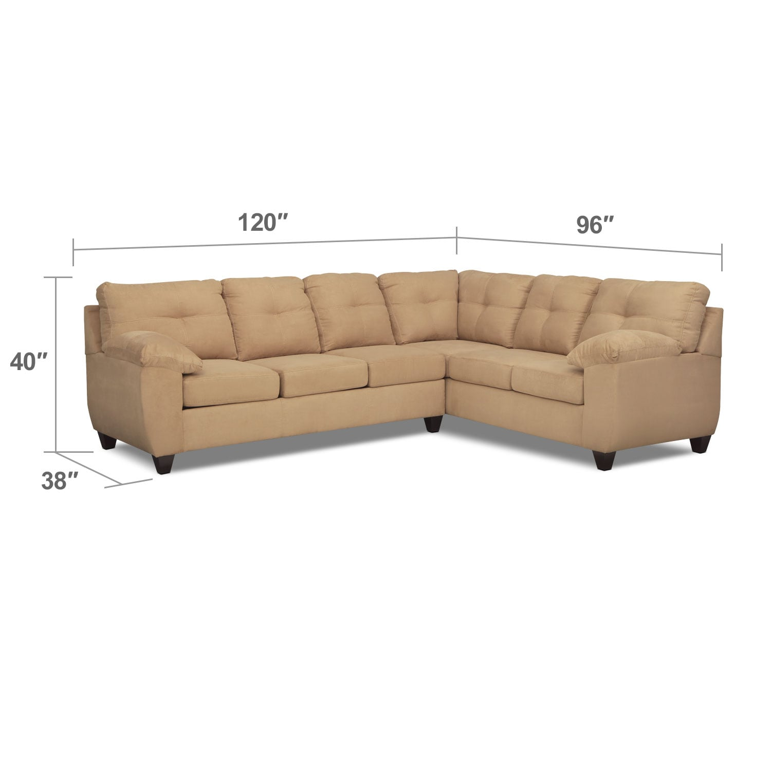 Living Room Furniture - Rialto 2-Piece Sectional with Left-Facing Innerspring Sleeper - Camel
