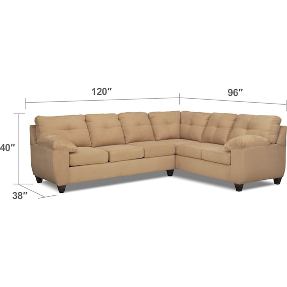 Living Room Furniture - Ricardo 2-Piece Memory Foam Sleeper Sectional with Right-Facing Sofa - Camel