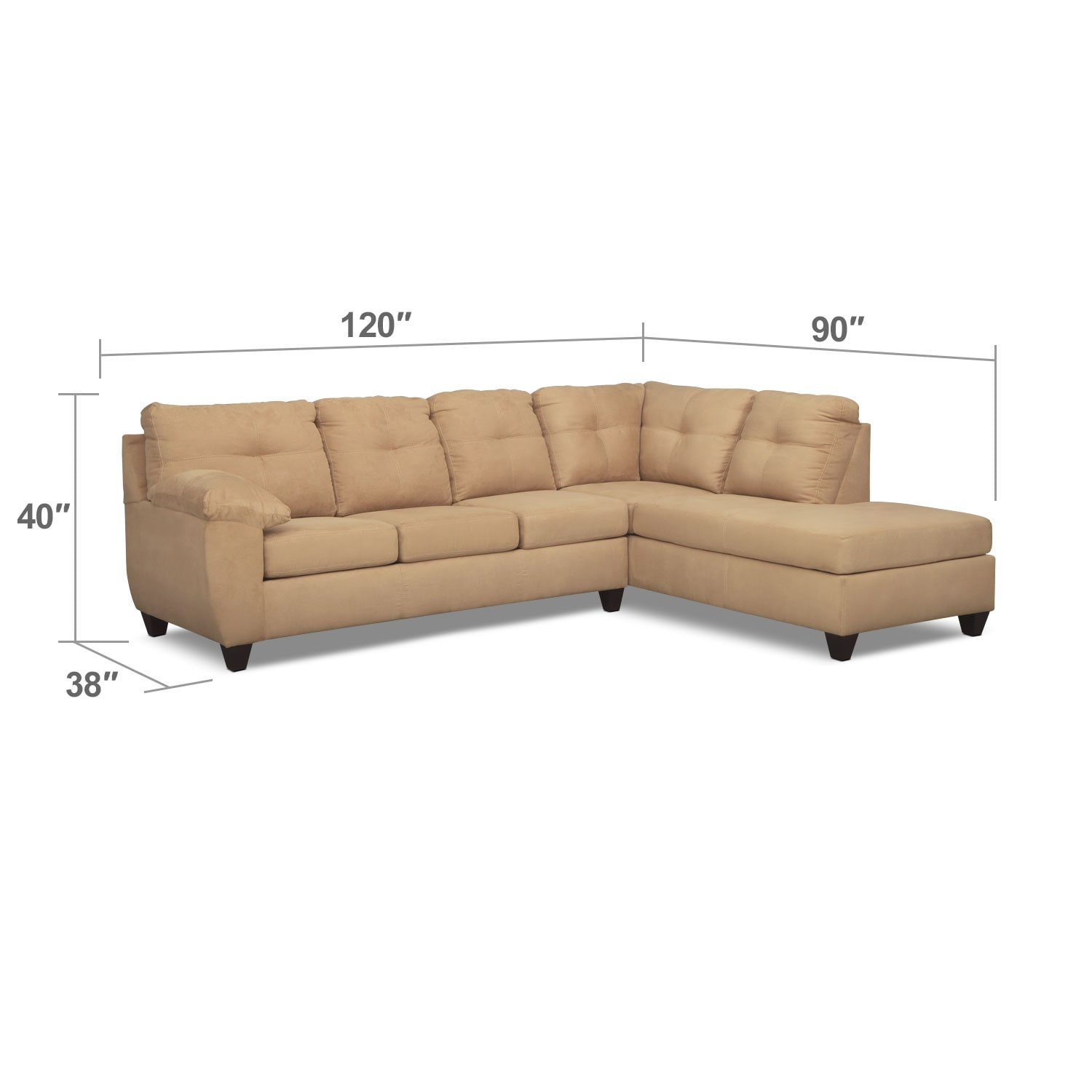 Living Room Furniture - Rialto 2-Piece Memory Foam Sleeper Sectional with Right-Facing Chaise - Camel