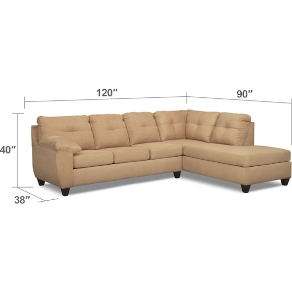 Living Room Furniture - Ricardo 2-Piece Memory Foam Sleeper Sectional with Right-Facing Chaise - Camel