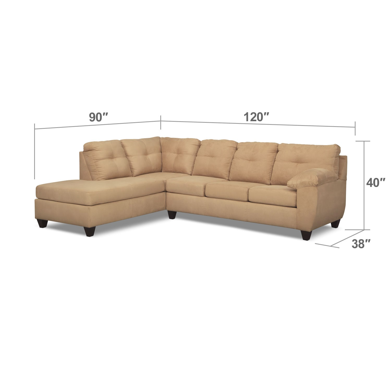 Living Room Furniture - Rialto 2-Piece Sectional with Left-Facing Chaise - Camel