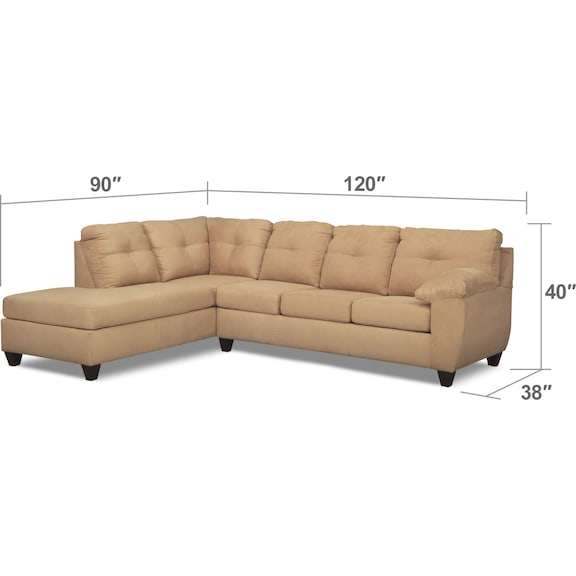 Living Room Furniture - Ricardo 2-Piece Memory Foam Sleeper Sectional with Left-Facing Chaise - Camel