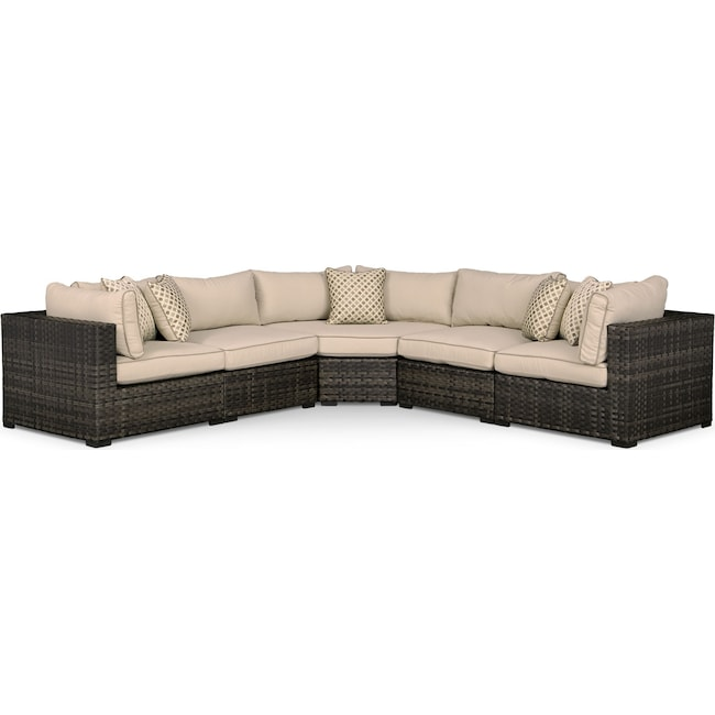 Outdoor Furniture - Regatta 5-Piece Outdoor Sectional with Wedge - Brown