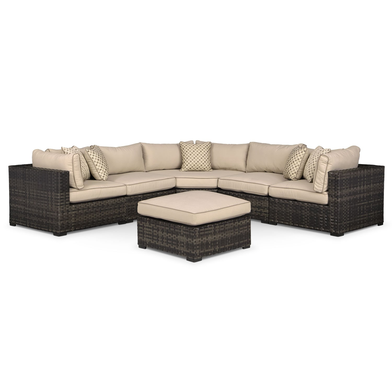 Outdoor Furniture - Regatta 5-Piece Outdoor Sectional with Wedge and Ottoman - Brown