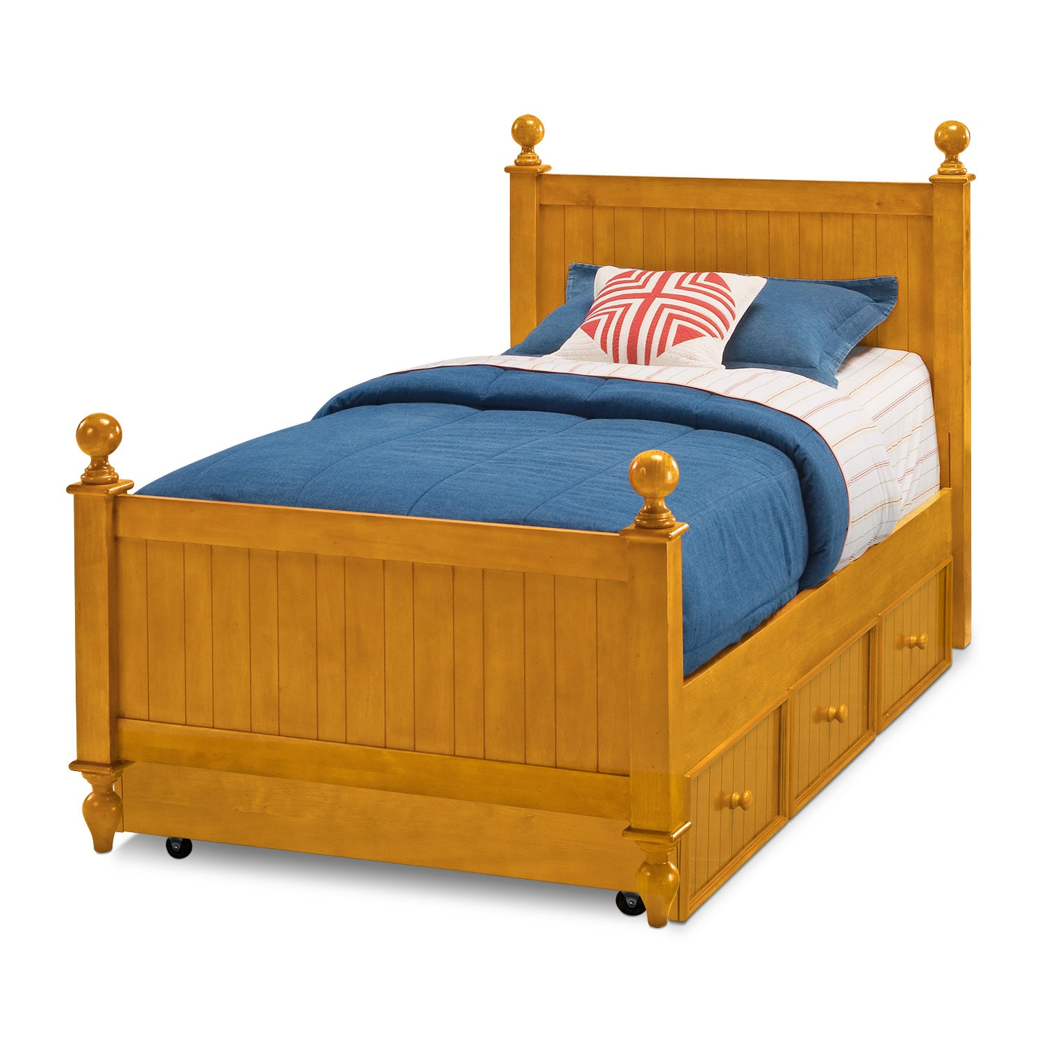 Colorworks Full Bed with Trundle - Honey Pine