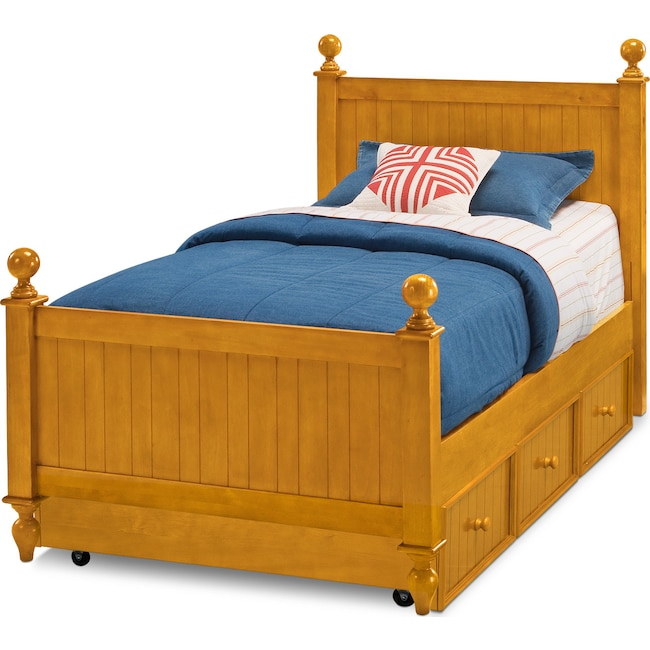 Kids Furniture - Colorworks Full Bed with Trundle - Honey Pine