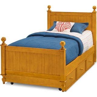 colorworks twin bed with trundle honey pine - Twin Bed And Frame
