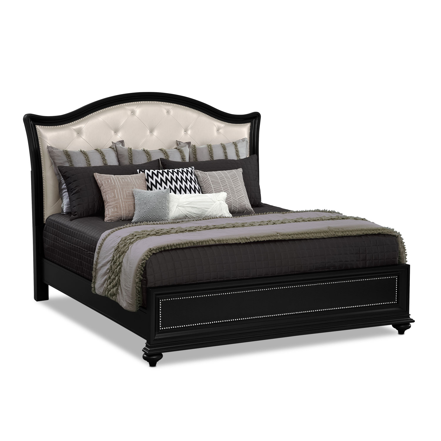 Marilyn king bed ebony value city furniture Queen size mattress price