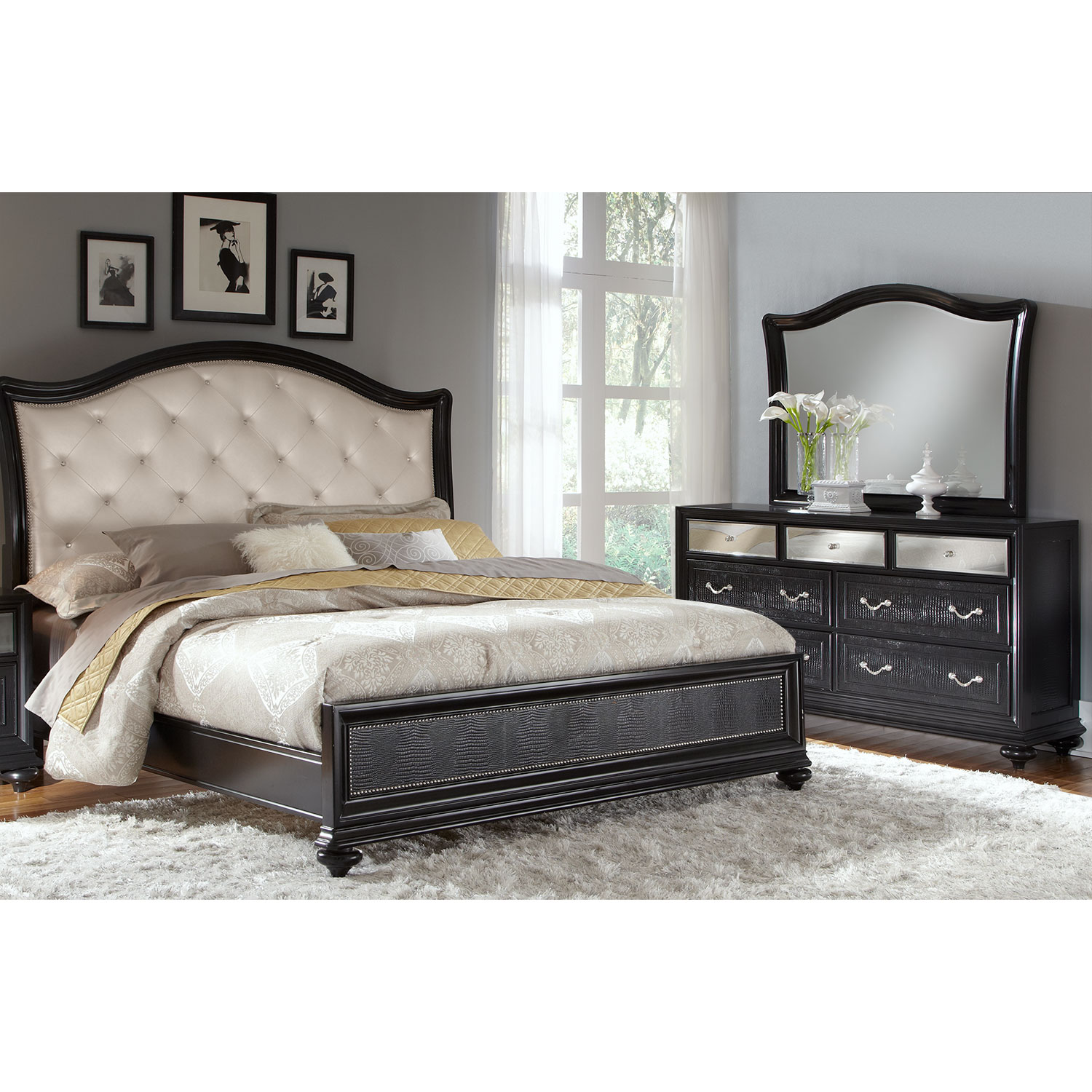 Bedroom Furniture - Marilyn 5-Piece King Bedroom Set - Ebony
