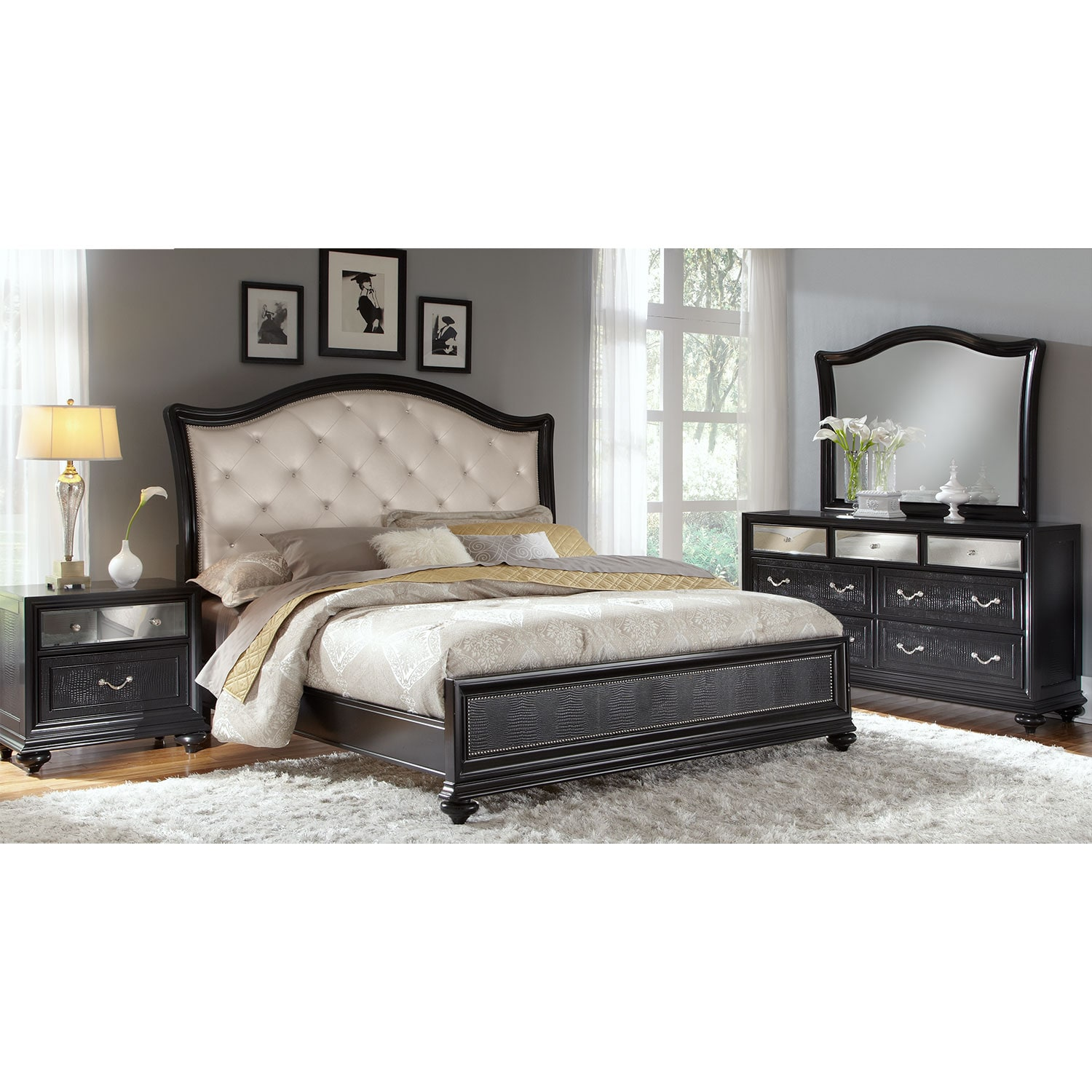 6 Piece Queen Bedroom Set Ebony Hover To Zoom