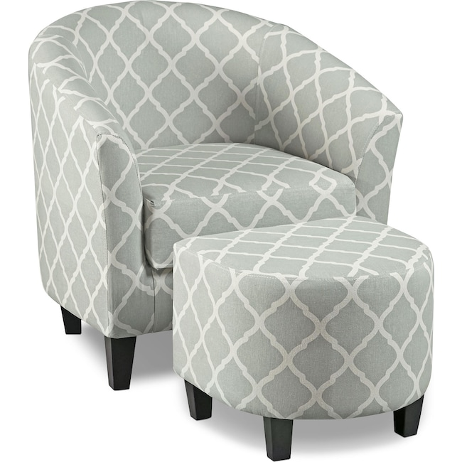 Living Room Furniture - Sperrie Accent Chair and Ottoman - Gray