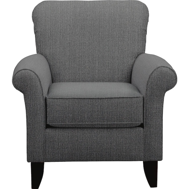 Living Room Furniture - Tracy Accent Chair w/ Depalma Charcoal Fabric
