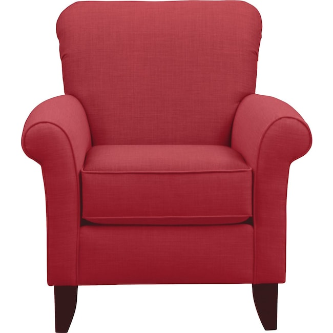 Living Room Furniture - Tracy Chair w/ Oakley III Tomato Fabric