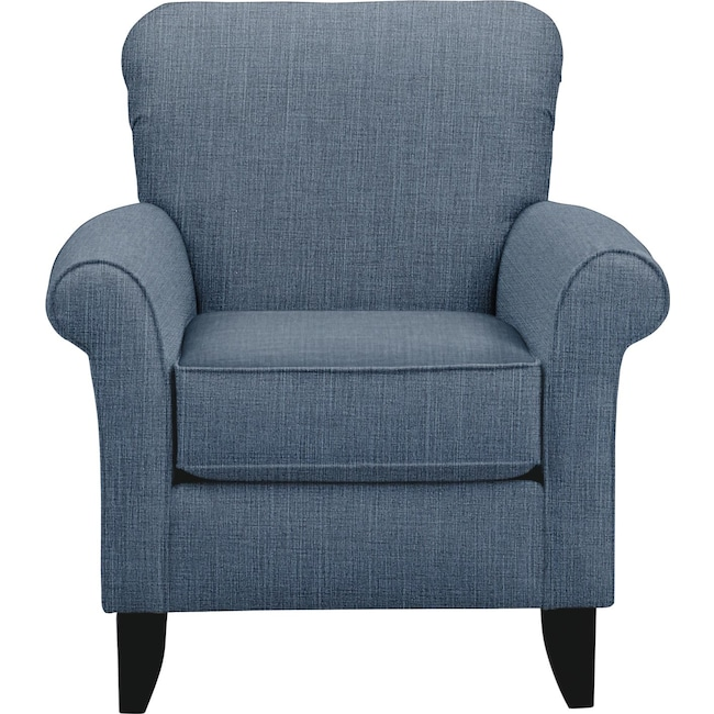 Living Room Furniture - Tracy Chair w/ Milford II Indigo Fabric