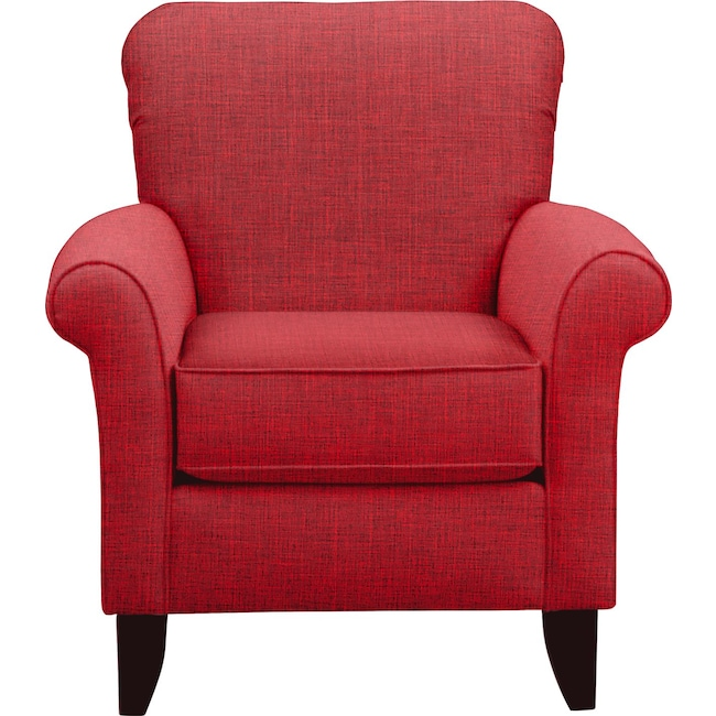 Living Room Furniture - Tracy Chair w/ Milford II Red Fabric