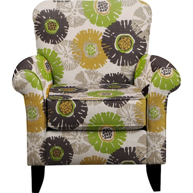 Living Room Furniture - Tracy Chair w/ Star Burst Slate Fabric