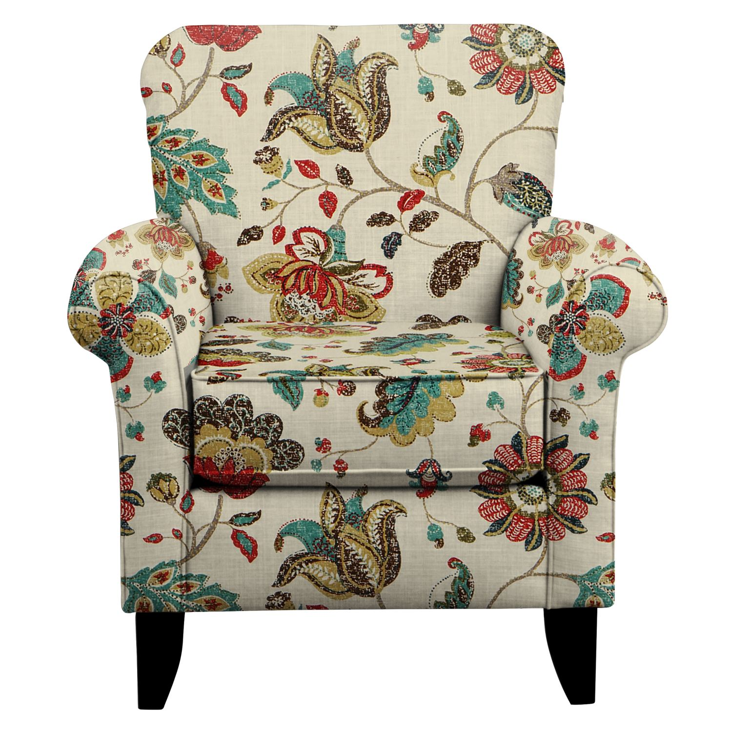 Bon Living Room Furniture   Tracy Chair W/ Spring Mix Poppy Fabric