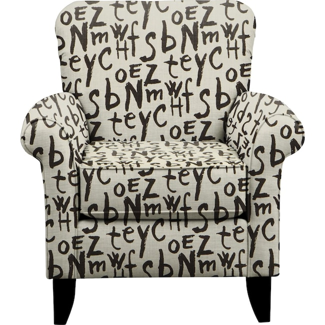 Living Room Furniture - Tracy Chair w/ American Grafitti Raven Fabric